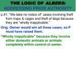 the logic of albers addressing prior authority64