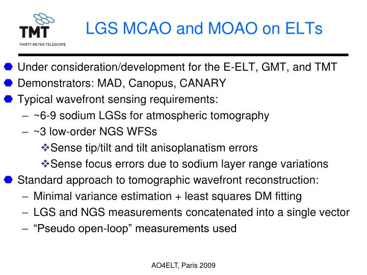 Lgs mcao and moao on elts