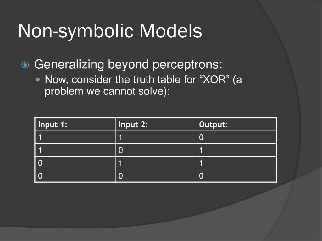 Non-symbolic Models