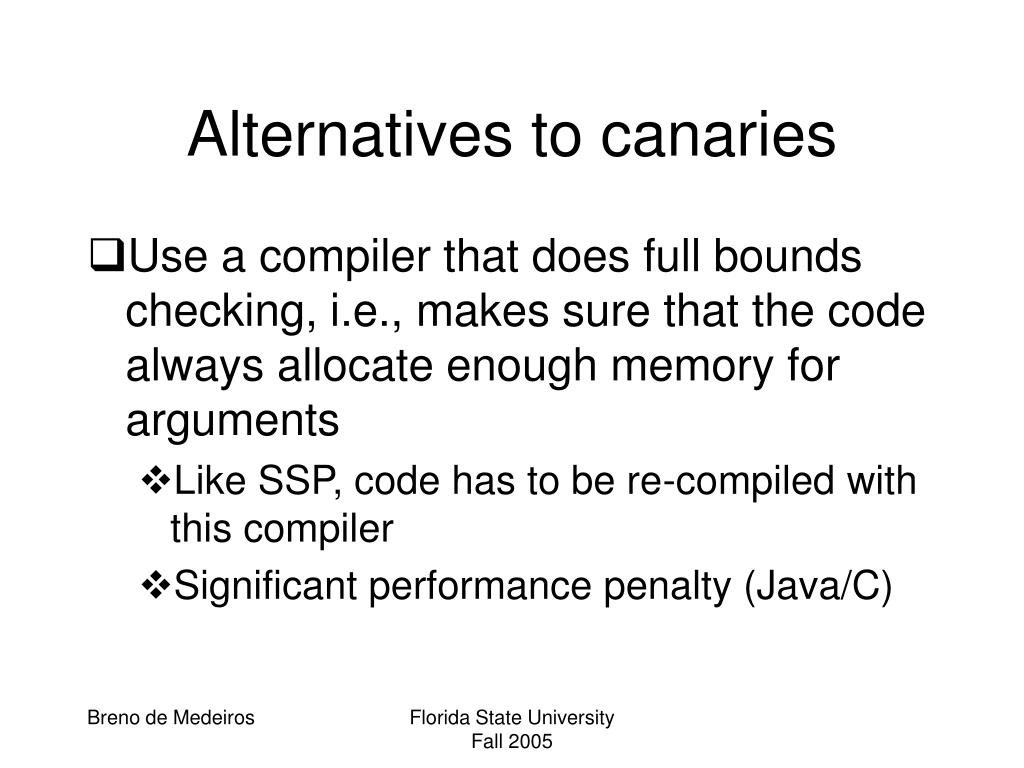 Alternatives to canaries