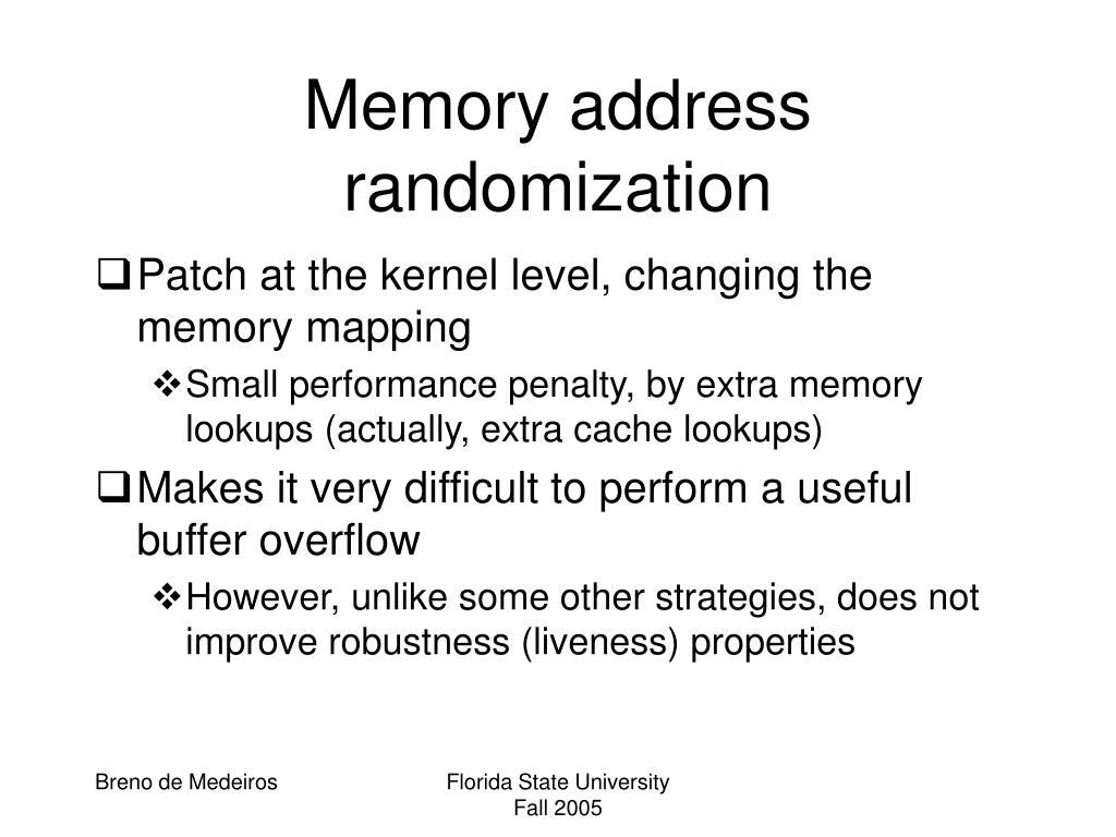 Memory address randomization
