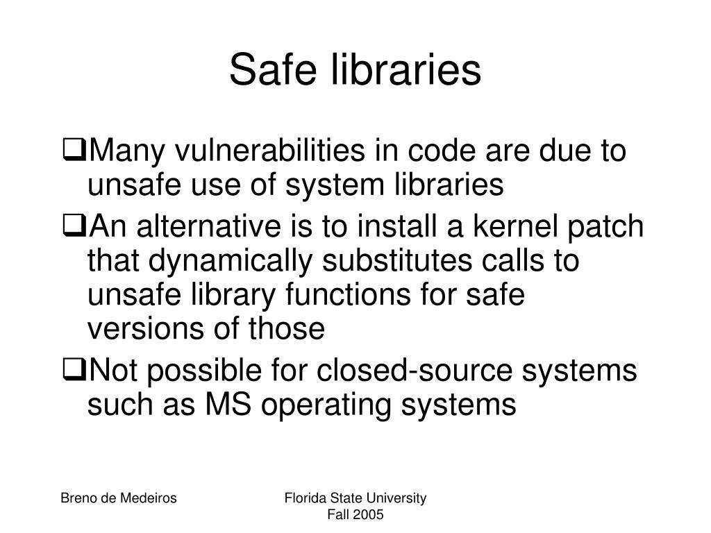 Safe libraries