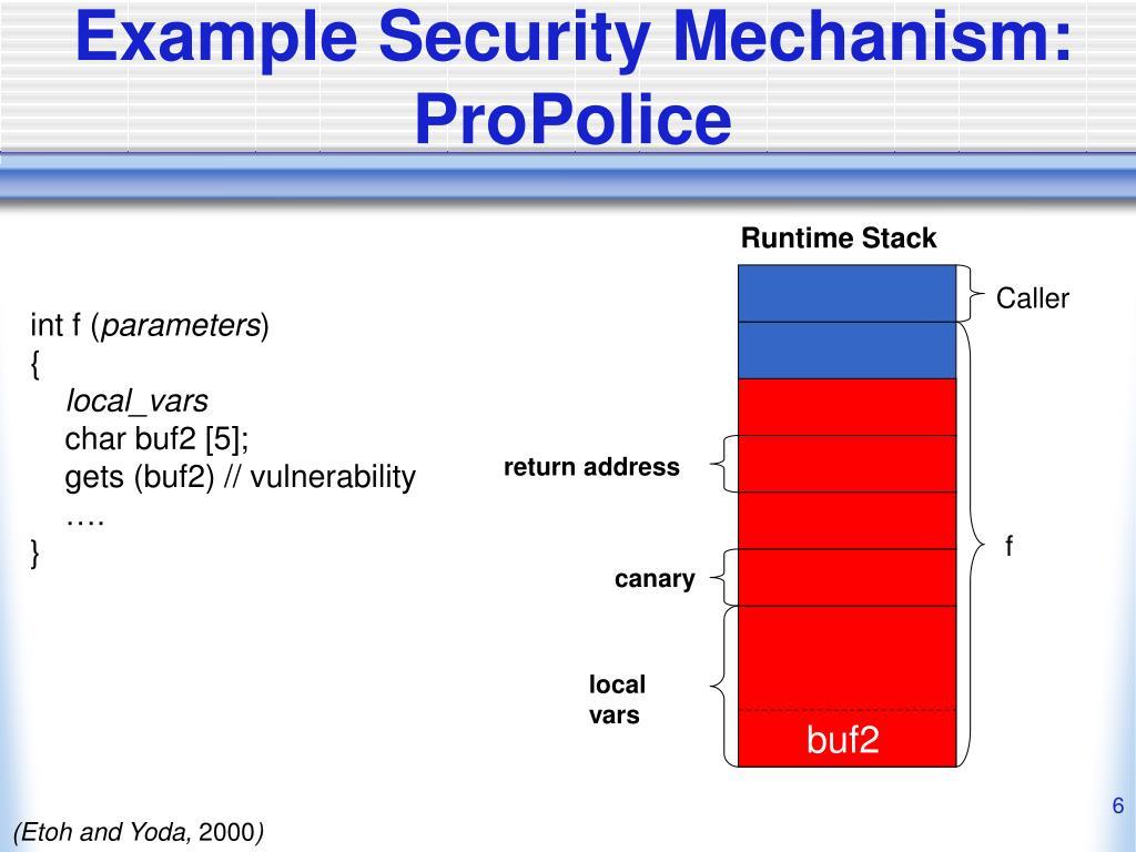 Example Security Mechanism: ProPolice