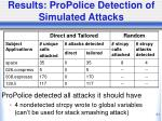 results propolice detection of simulated attacks
