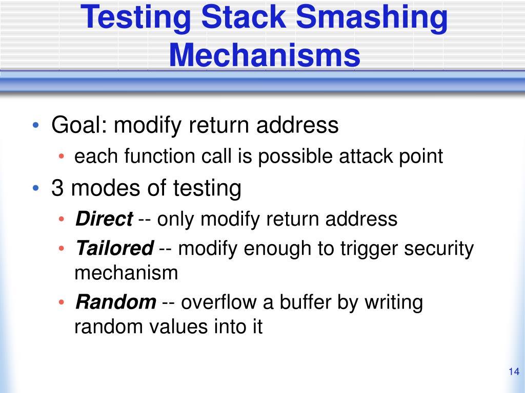 Testing Stack Smashing Mechanisms