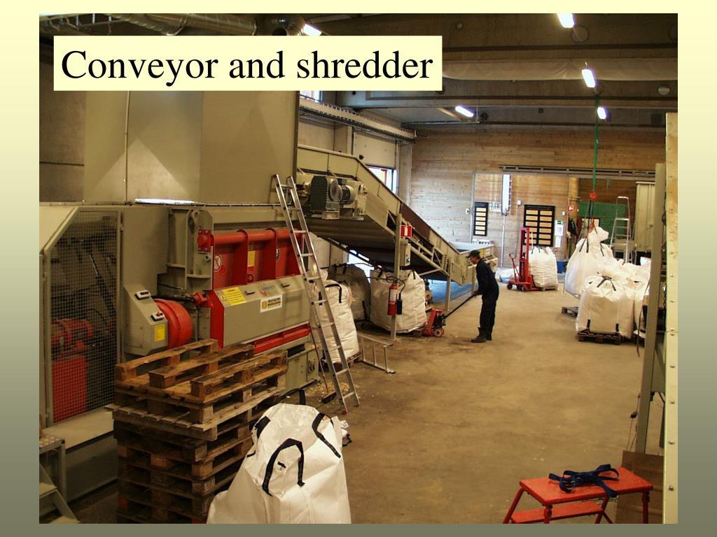 Conveyor and shredder