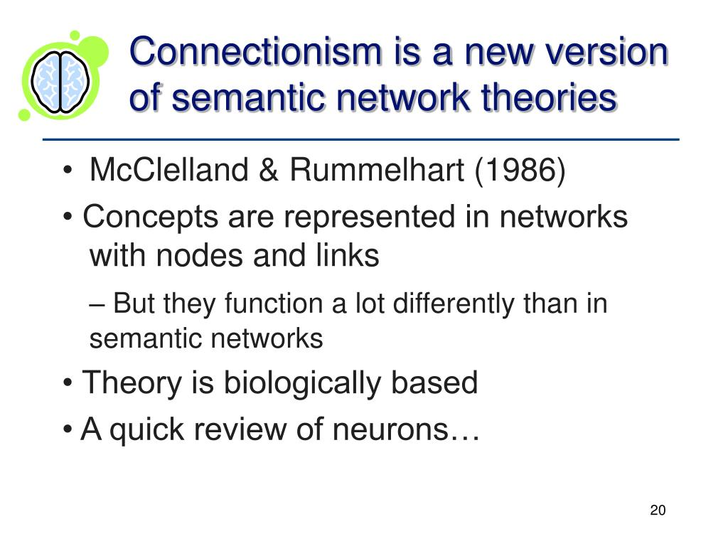 Connectionism is a new version of semantic network theories