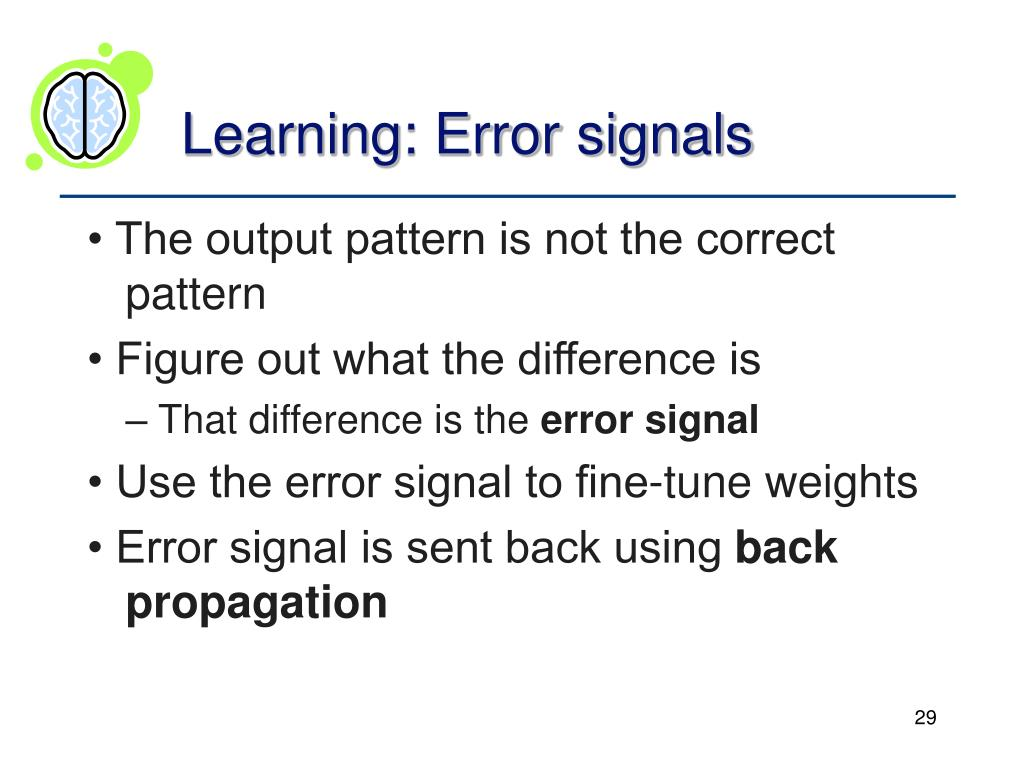 Learning: Error signals