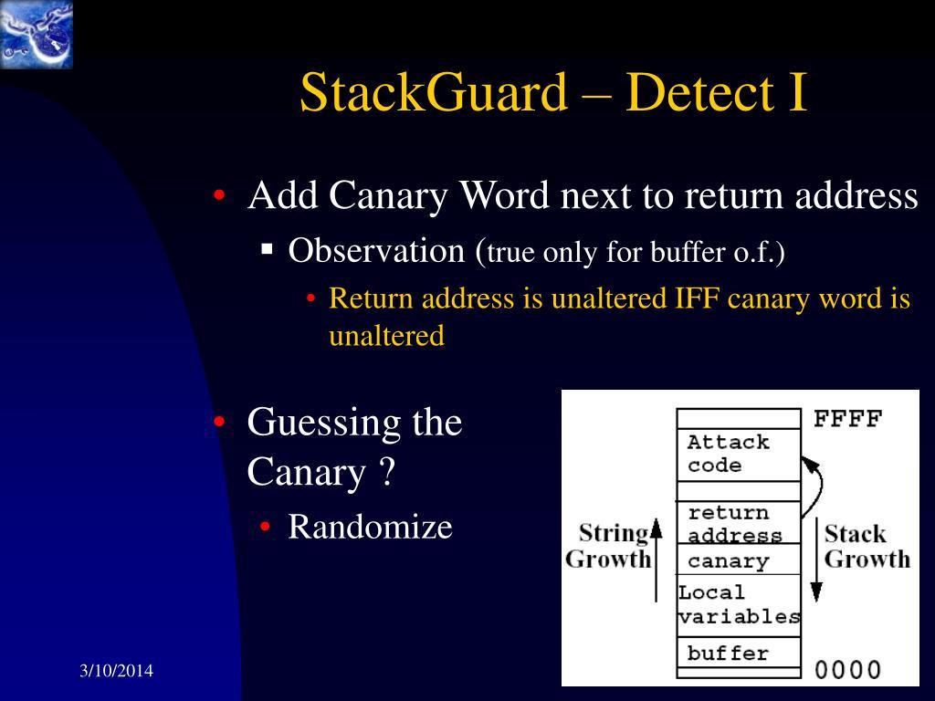 StackGuard – Detect I