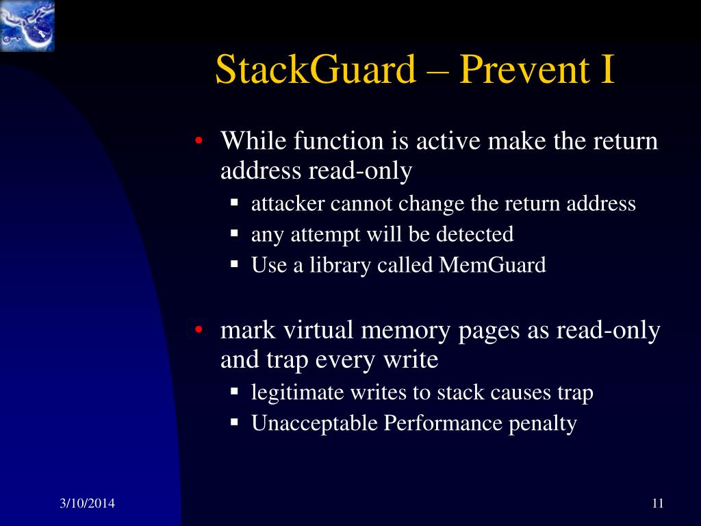 StackGuard – Prevent I