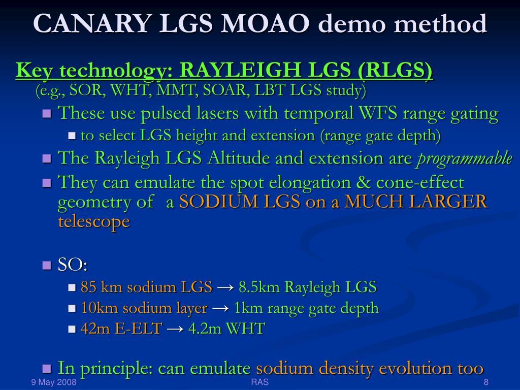 CANARY LGS MOAO demo method