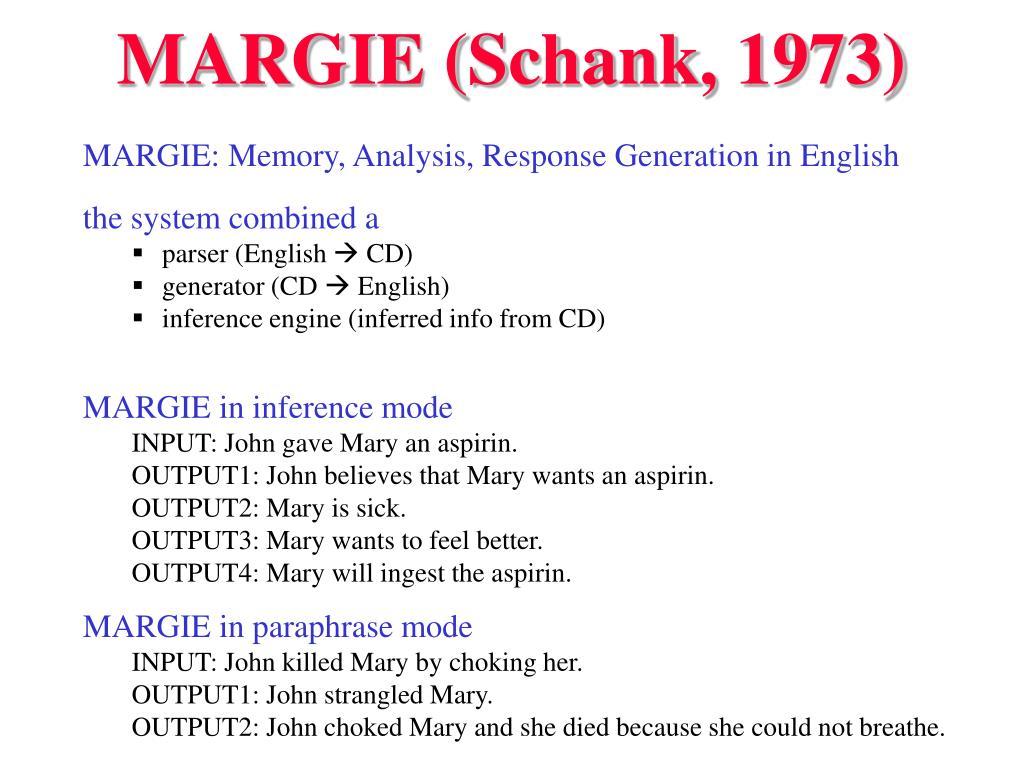 MARGIE (Schank, 1973)