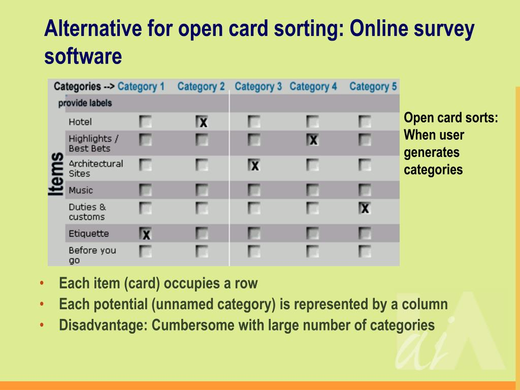 Alternative for open card sorting: Online survey software