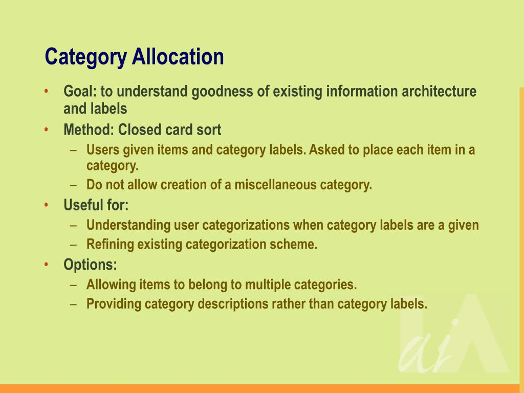 Category Allocation