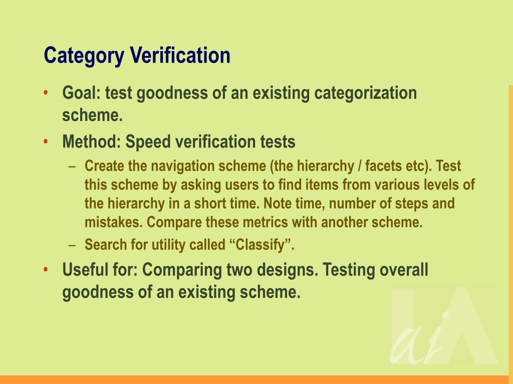 Category Verification