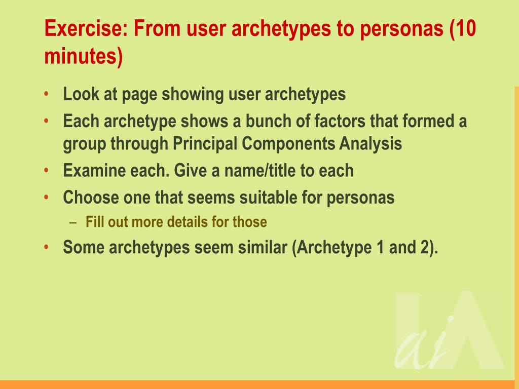 Exercise: From user archetypes to personas (10 minutes)