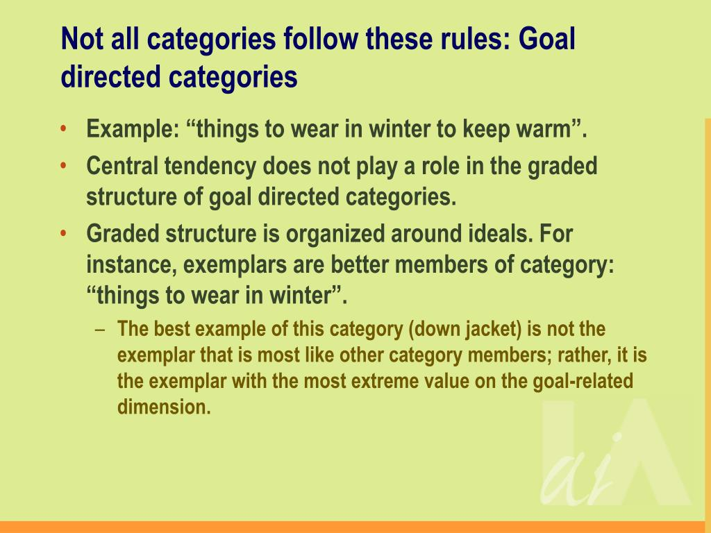 Not all categories follow these rules: Goal directed categories