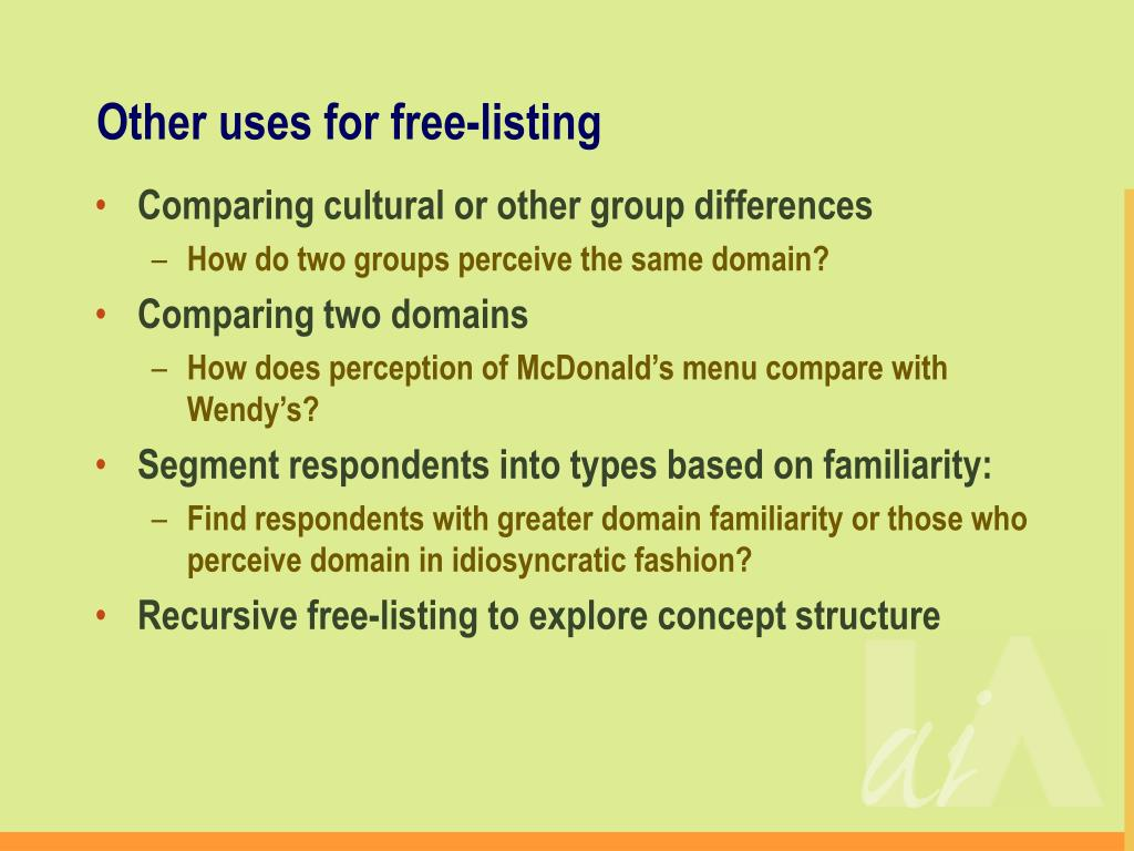 Other uses for free-listing