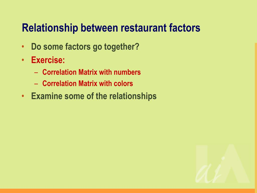 Relationship between restaurant factors