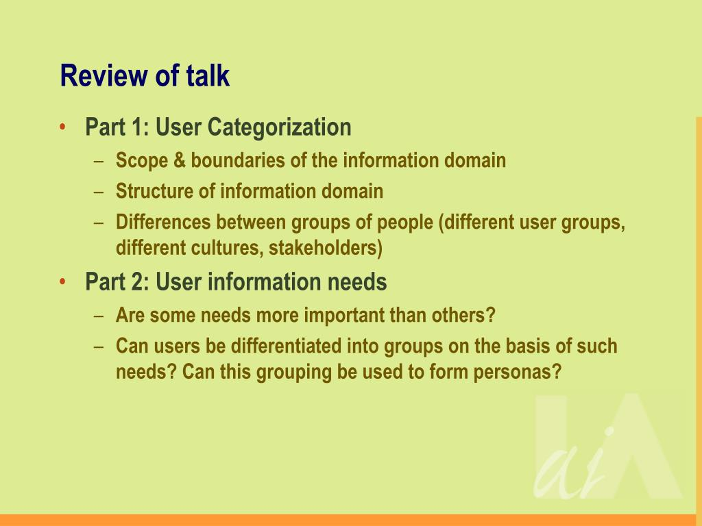 Review of talk