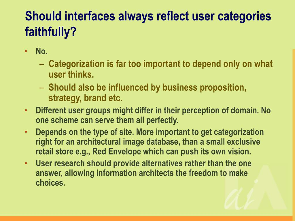 Should interfaces always reflect user categories faithfully?