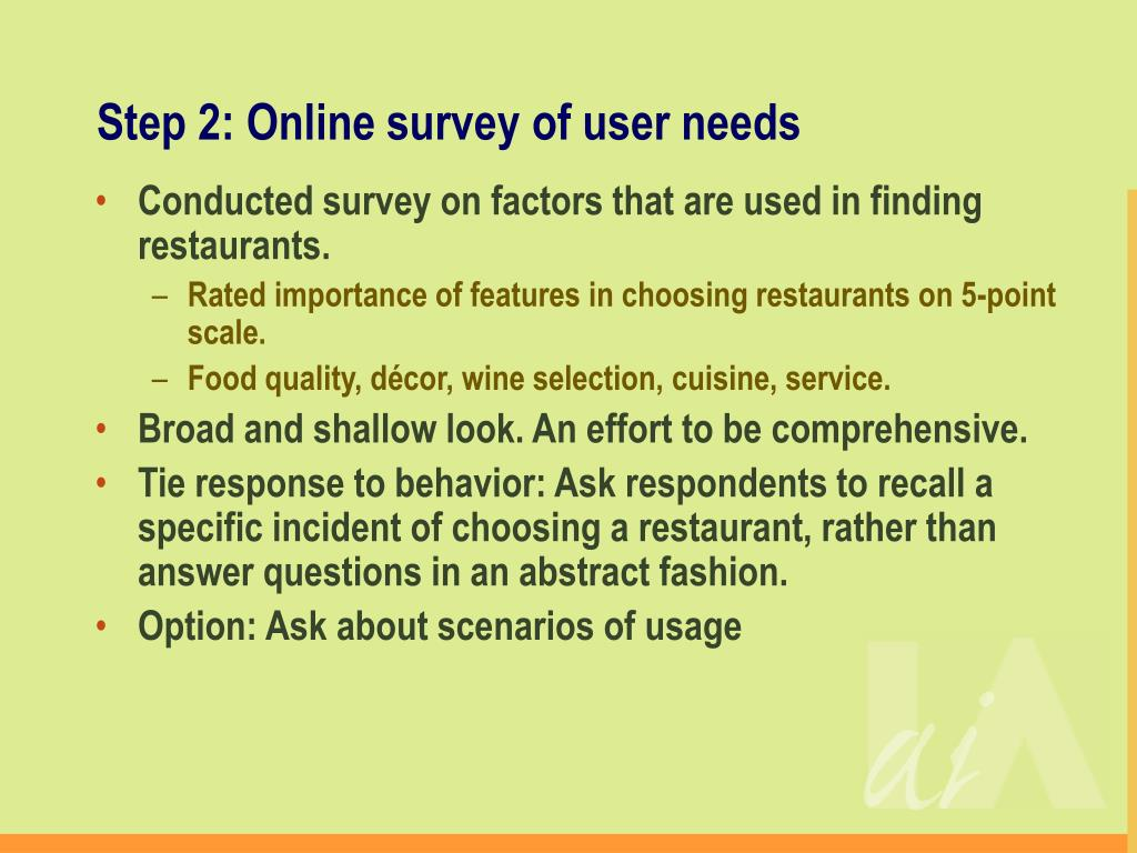 Step 2: Online survey of user needs