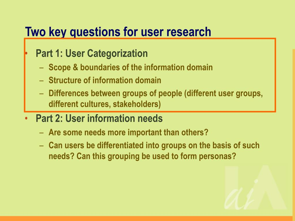 Two key questions for user research
