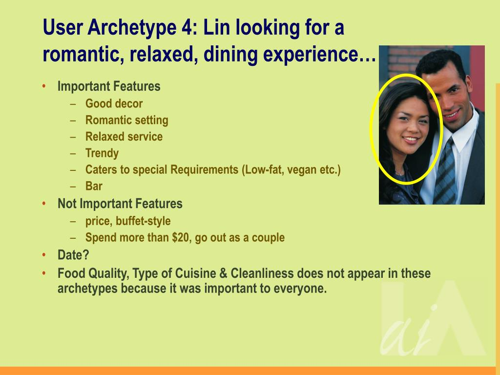User Archetype 4: Lin looking for a romantic, relaxed, dining experience…