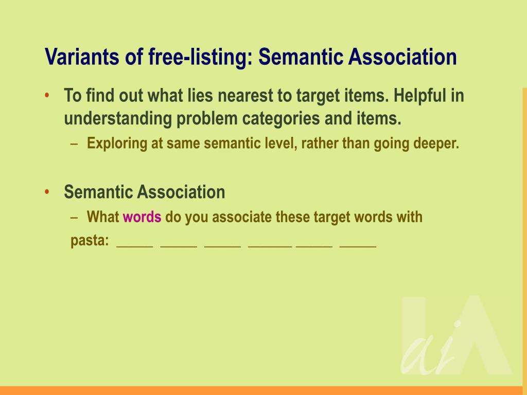 Variants of free-listing: Semantic Association