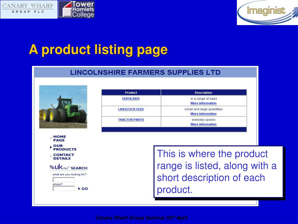A product listing page