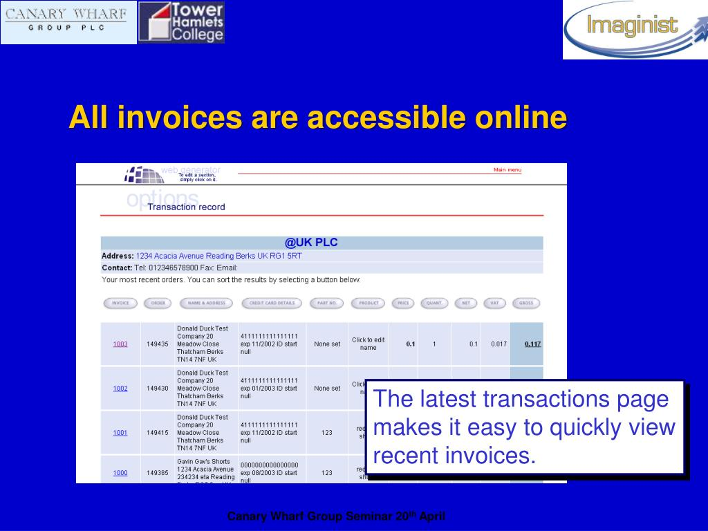 All invoices are accessible online