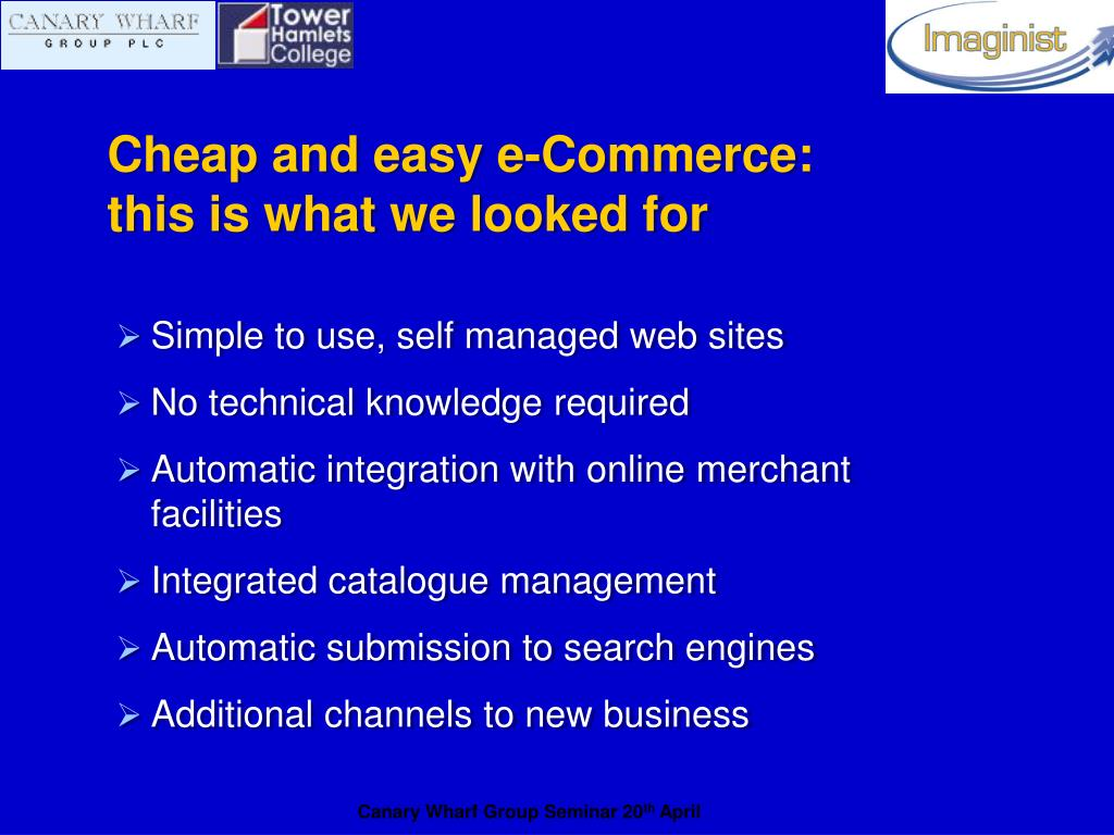 Cheap and easy e-Commerce:
