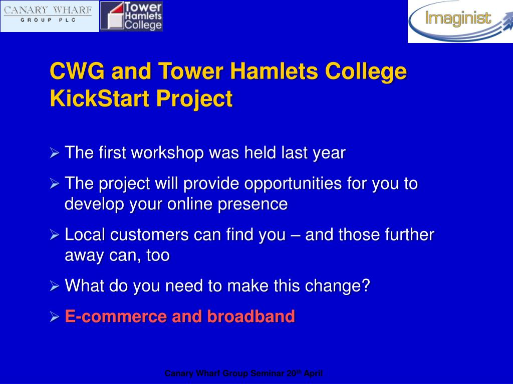 CWG and Tower Hamlets College KickStart Project