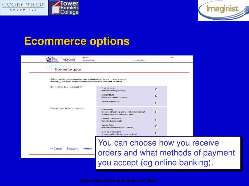 Ecommerce options