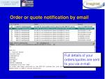 order or quote notification by email