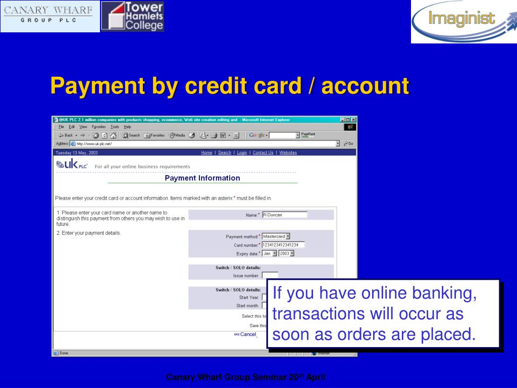Payment by credit card / account