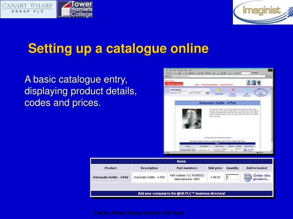 Setting up a catalogue online