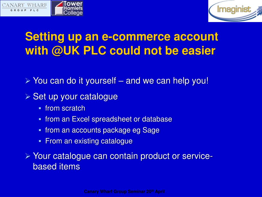 Setting up an e-commerce account