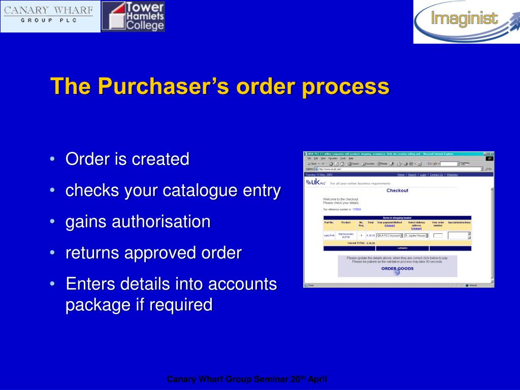 The Purchaser's order process