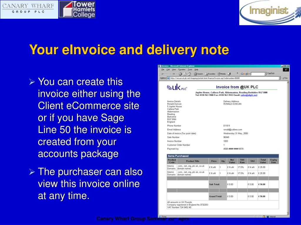 Your eInvoice and delivery note