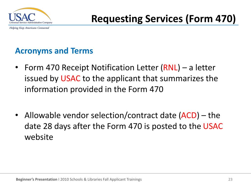 Form 470 Receipt Notification Letter (