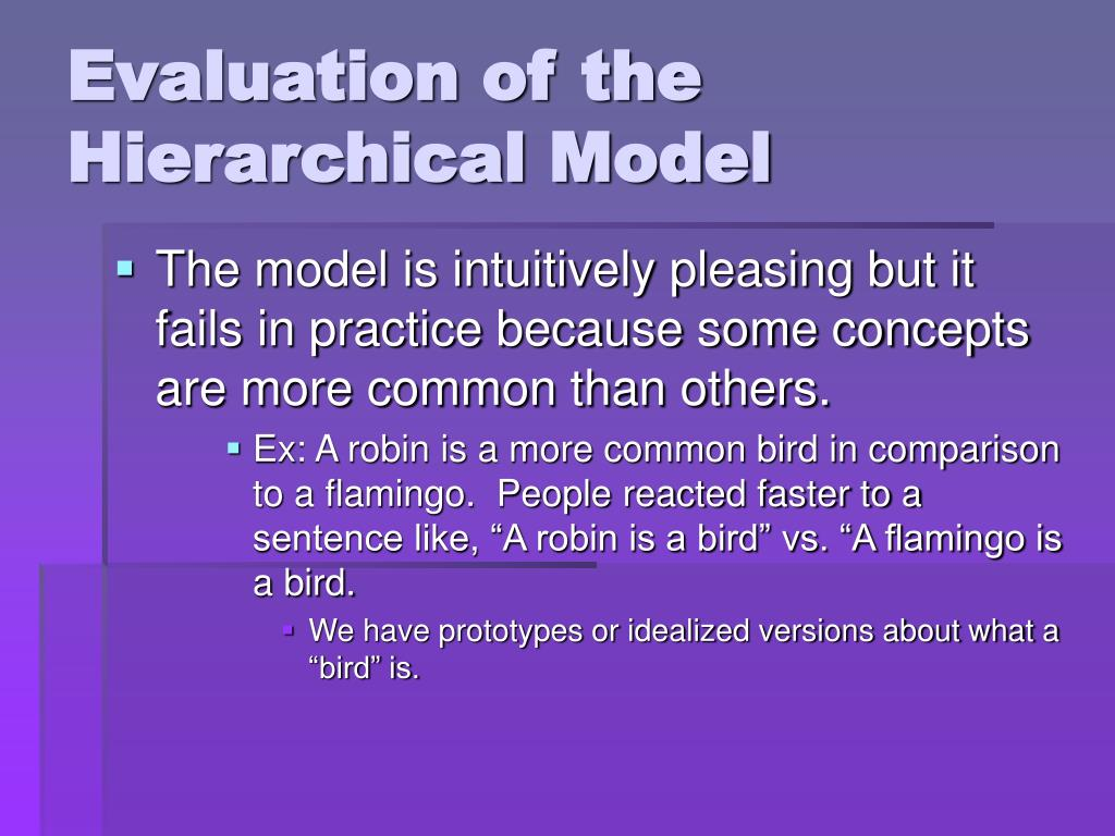 Evaluation of the Hierarchical Model