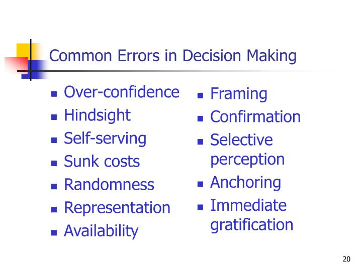 Common Errors in Decision Making