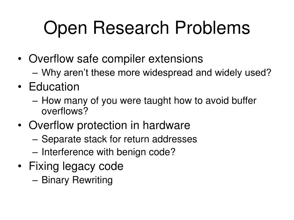 Open Research Problems