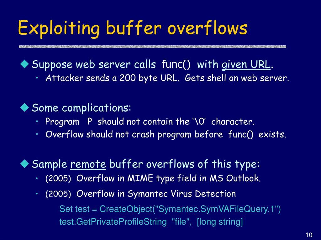 Exploiting buffer overflows