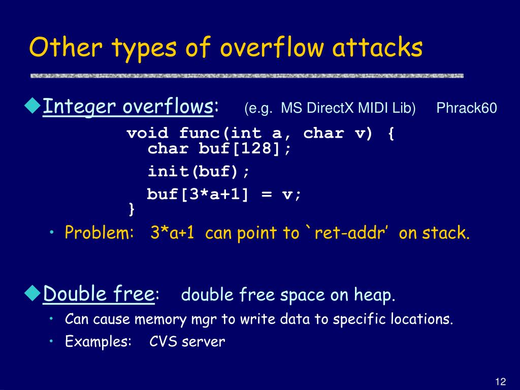Other types of overflow attacks
