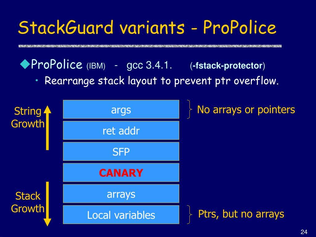 StackGuard variants - ProPolice