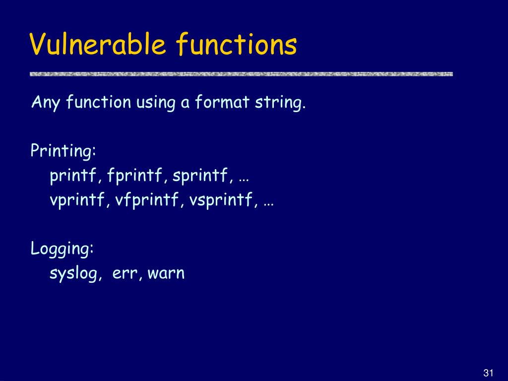 Vulnerable functions