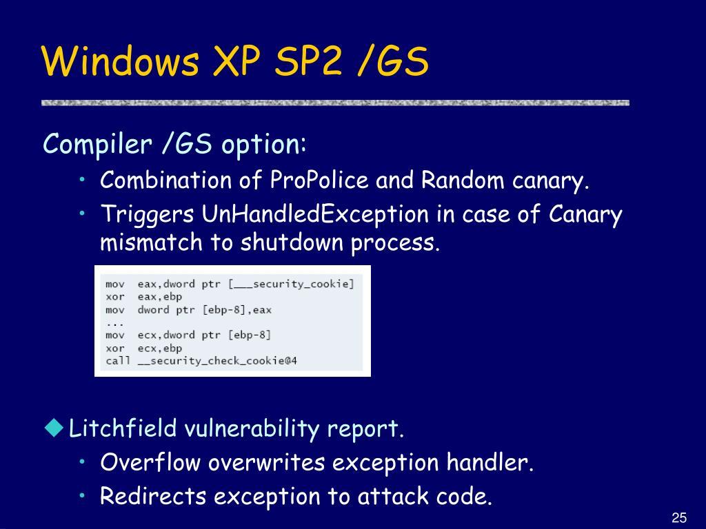 Windows XP SP2 /GS
