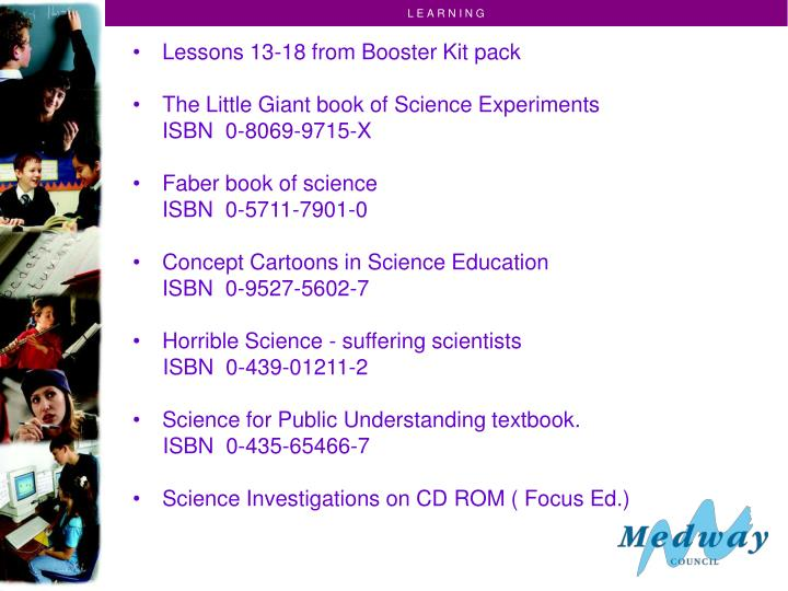 Lessons 13-18 from Booster Kit pack